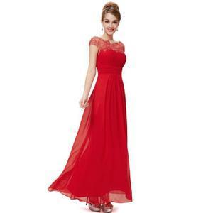 Robe longue dentelle rouge