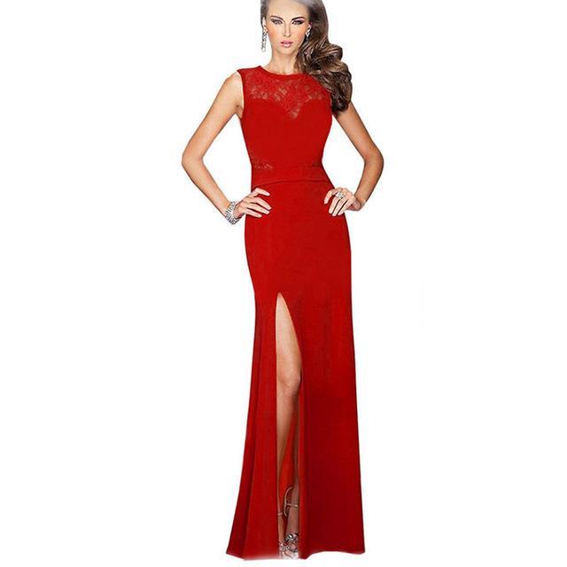Robe longue fendue rouge
