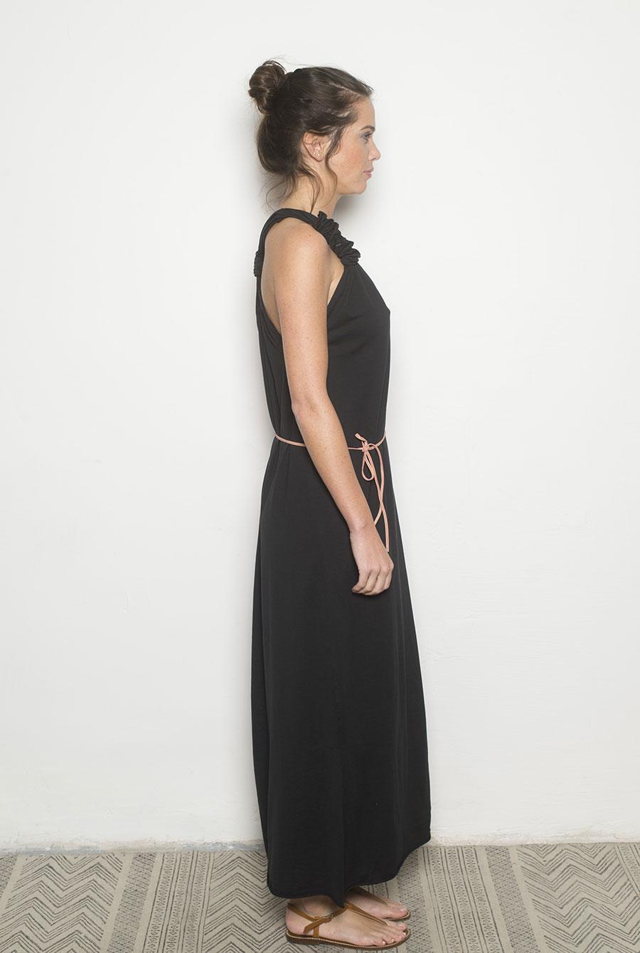 Robe longue noir coton