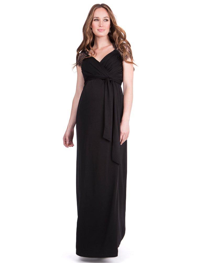 Robe longue noir dentelle