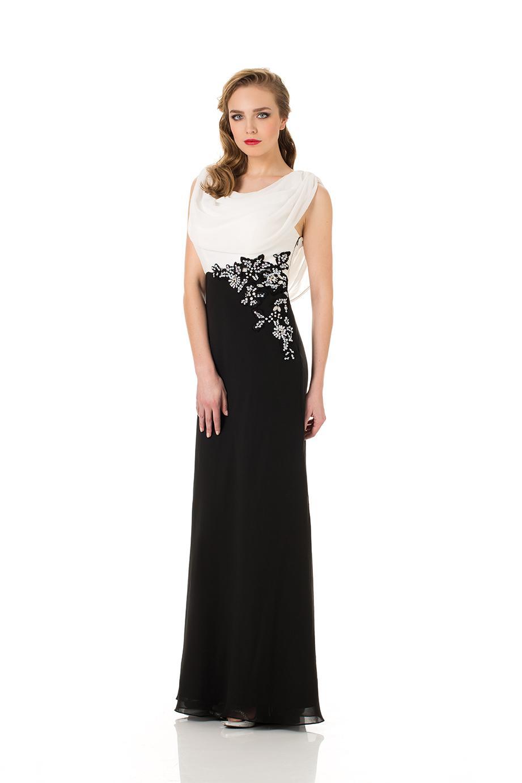 Robe longue noir et blanche