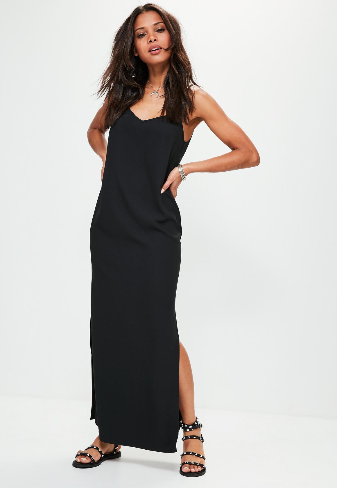 Robe longue noir fendu