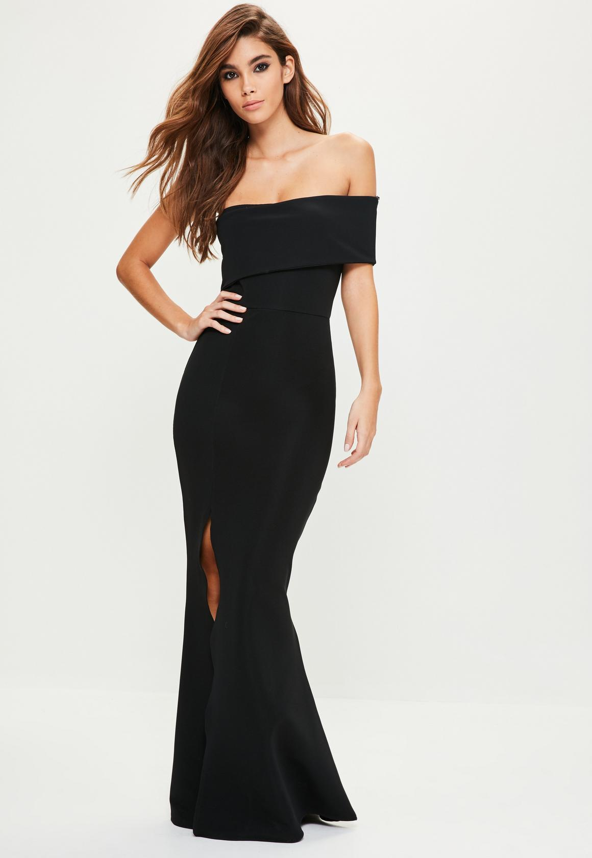 Robe longue noir fendue