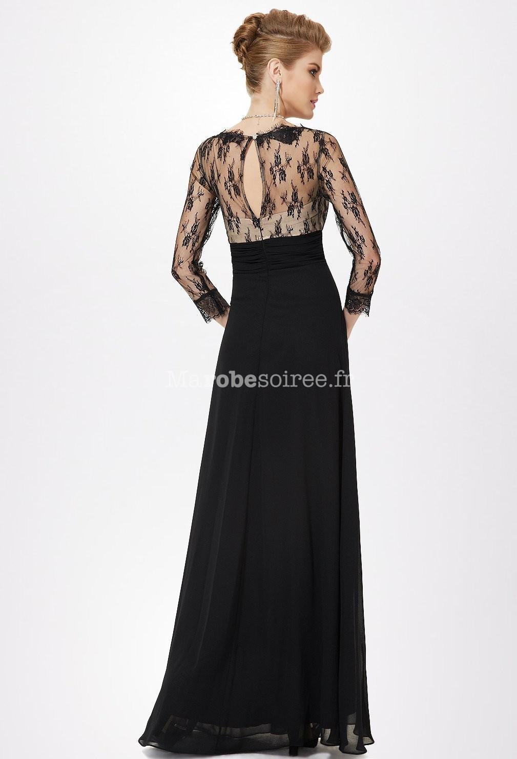 Robe longue noir manche 3 4