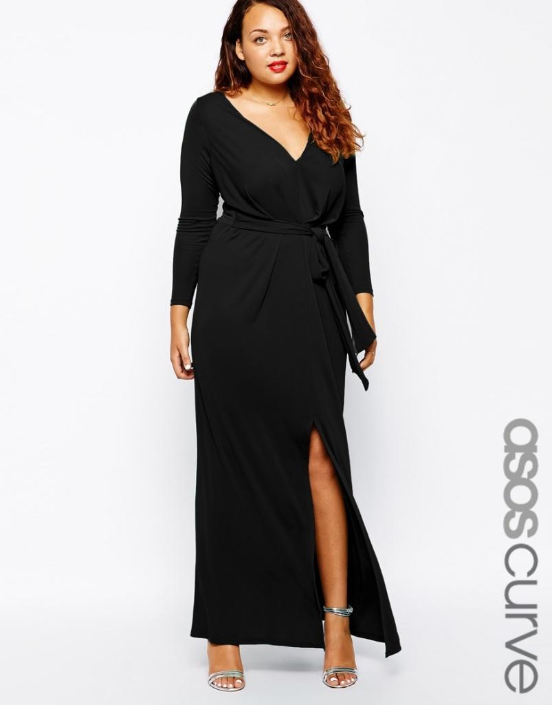 Robe longue noir manche longue