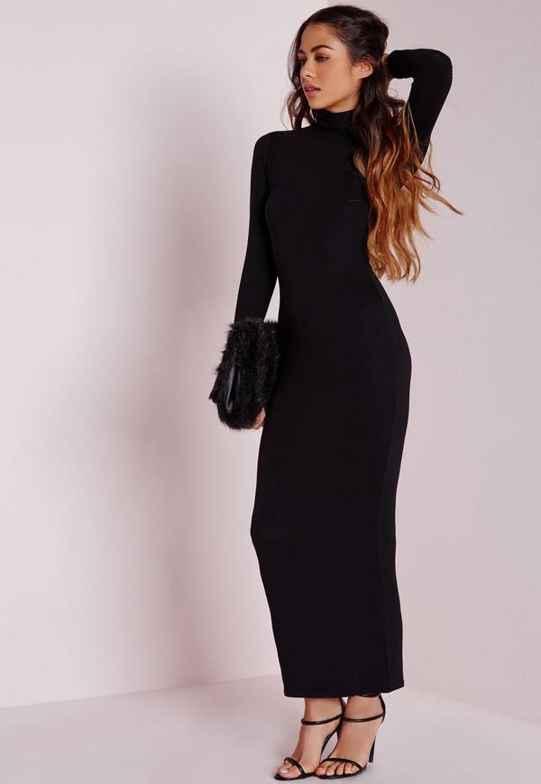 Robe longue noir moulante