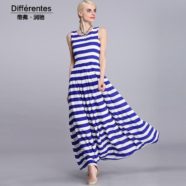 Robe longue rayée bleu et blanc
