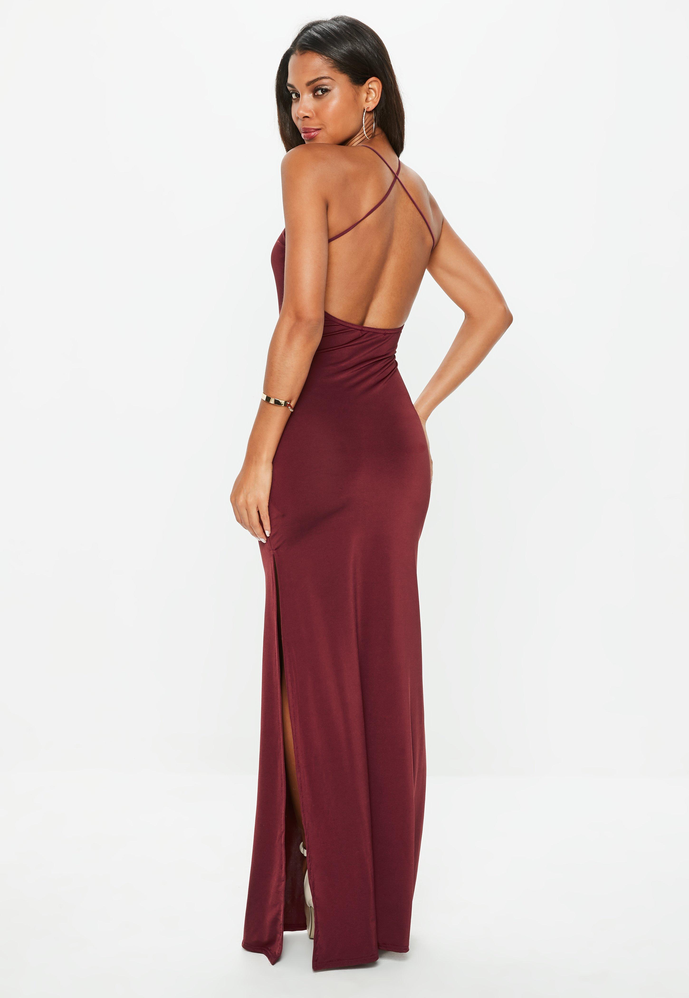 Robe longue rouge bordeaux