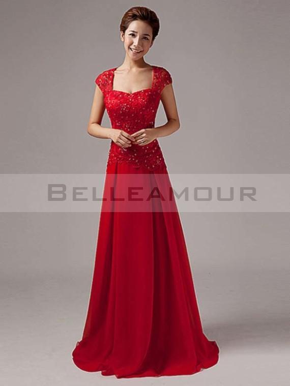 Robe longue rouge dentelle