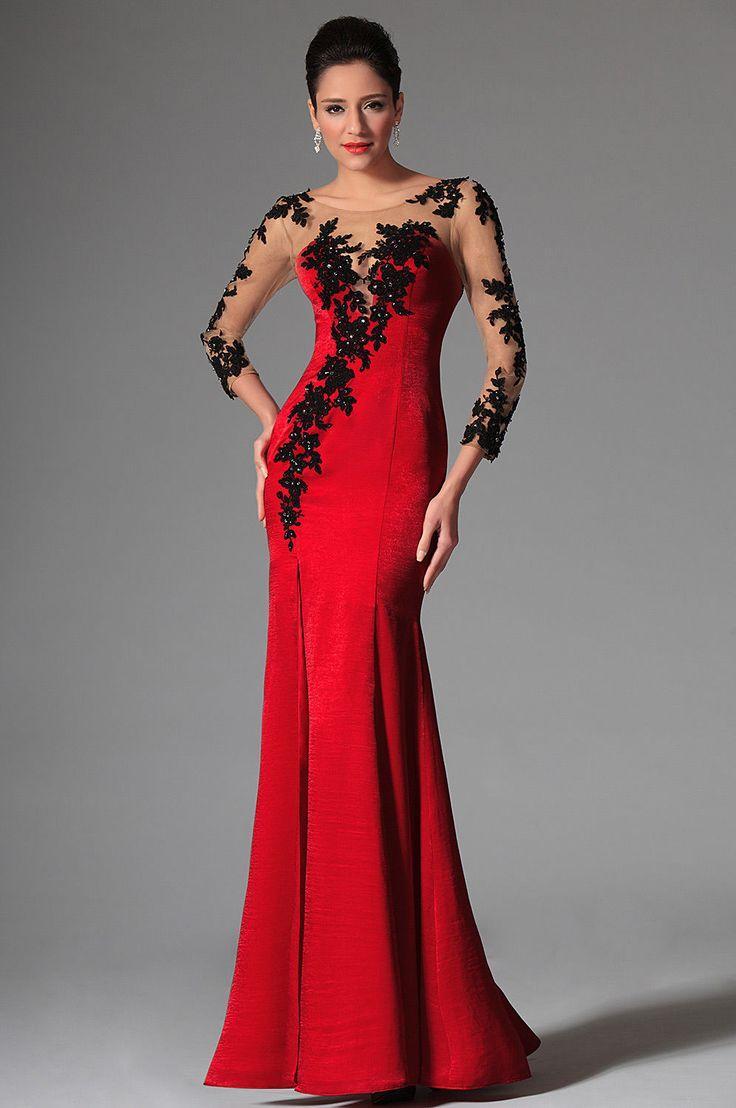 Robe longue rouge et noir