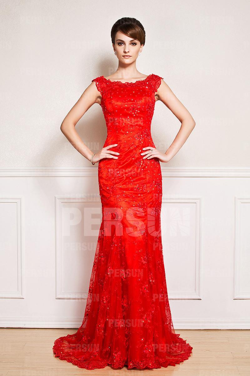 Robe longue rouge pour mariage