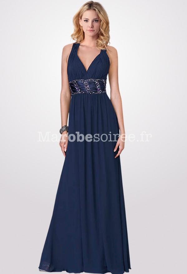 Robe longue soiree bleu marine