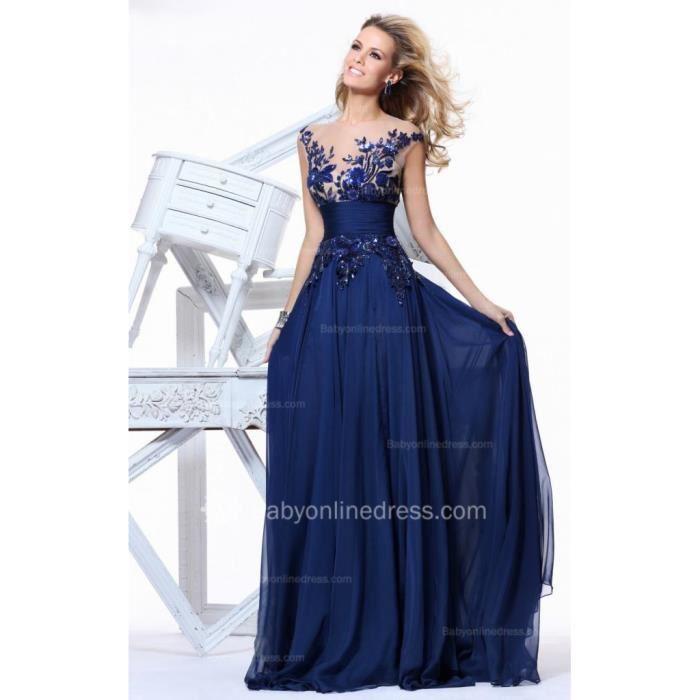 Robe longue soiree bleu
