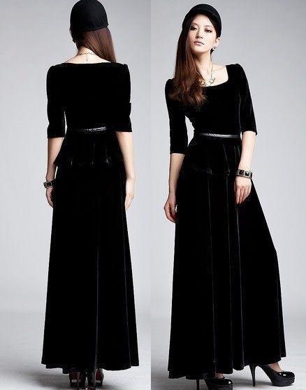 Robe longue velours noir