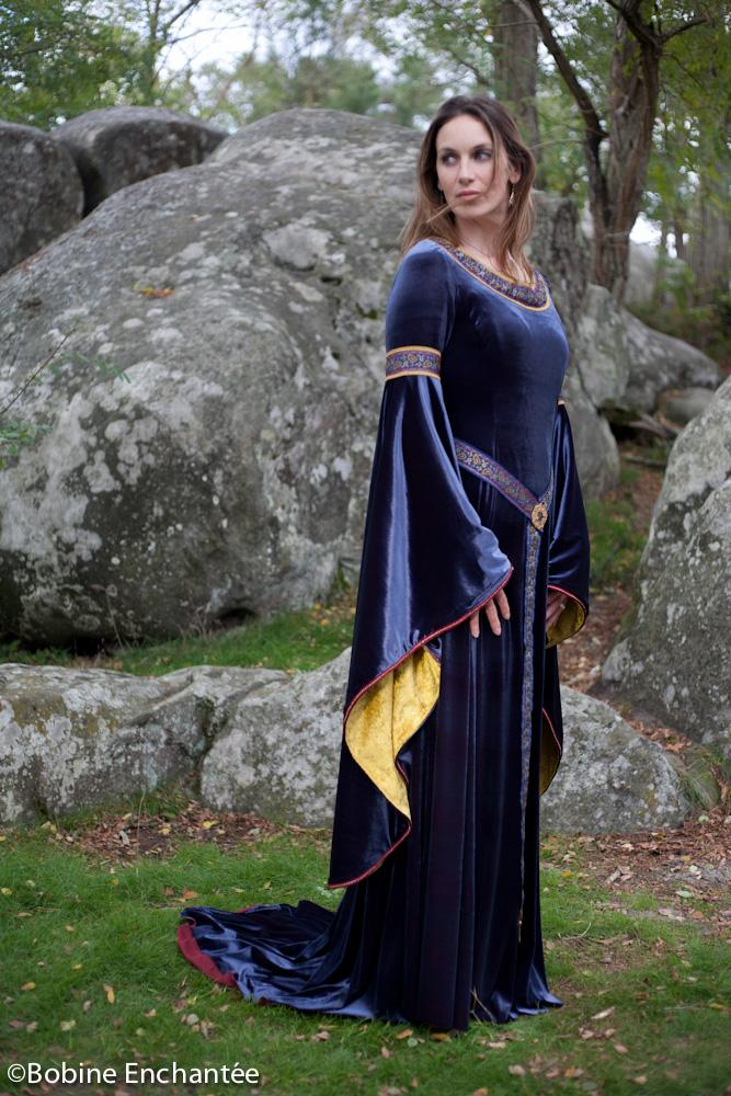 Robe médiévale princesse bleu