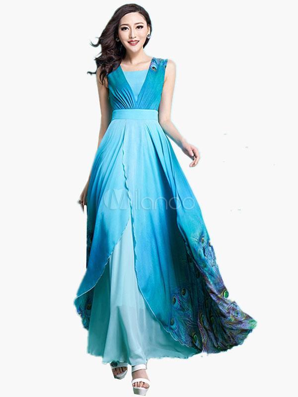 Robe maxi bleu