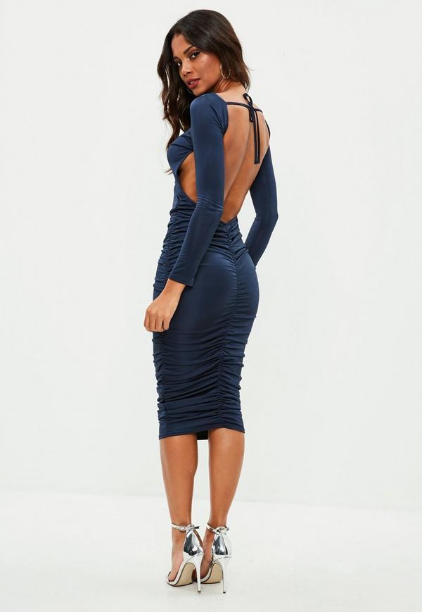 Robe mi-longue bleu marine