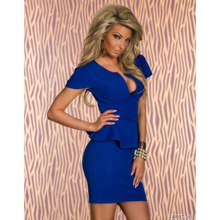 Robe moulante courte bleu