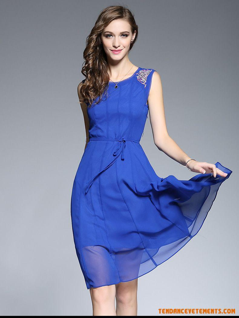 Robe mousseline bleu