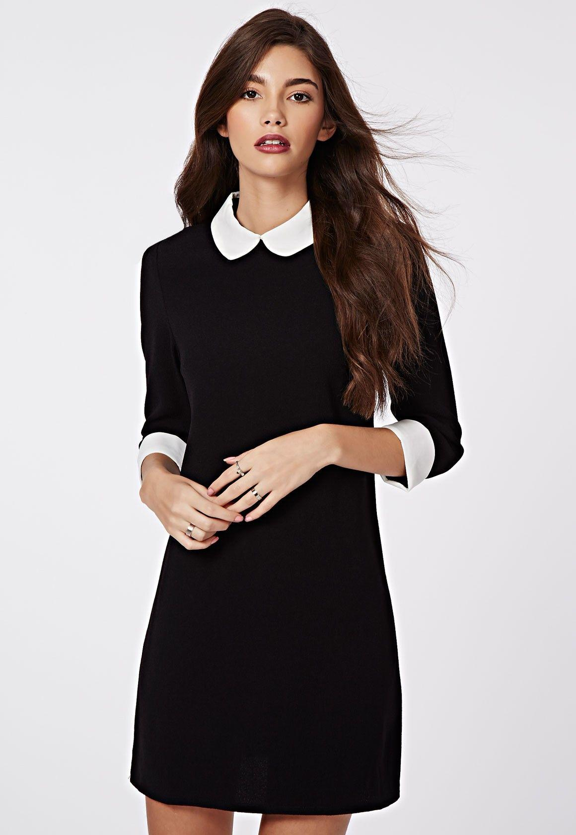 Robe noir a col blanc