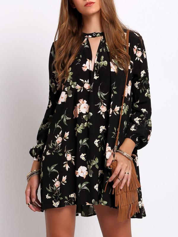 Robe noir a fleur