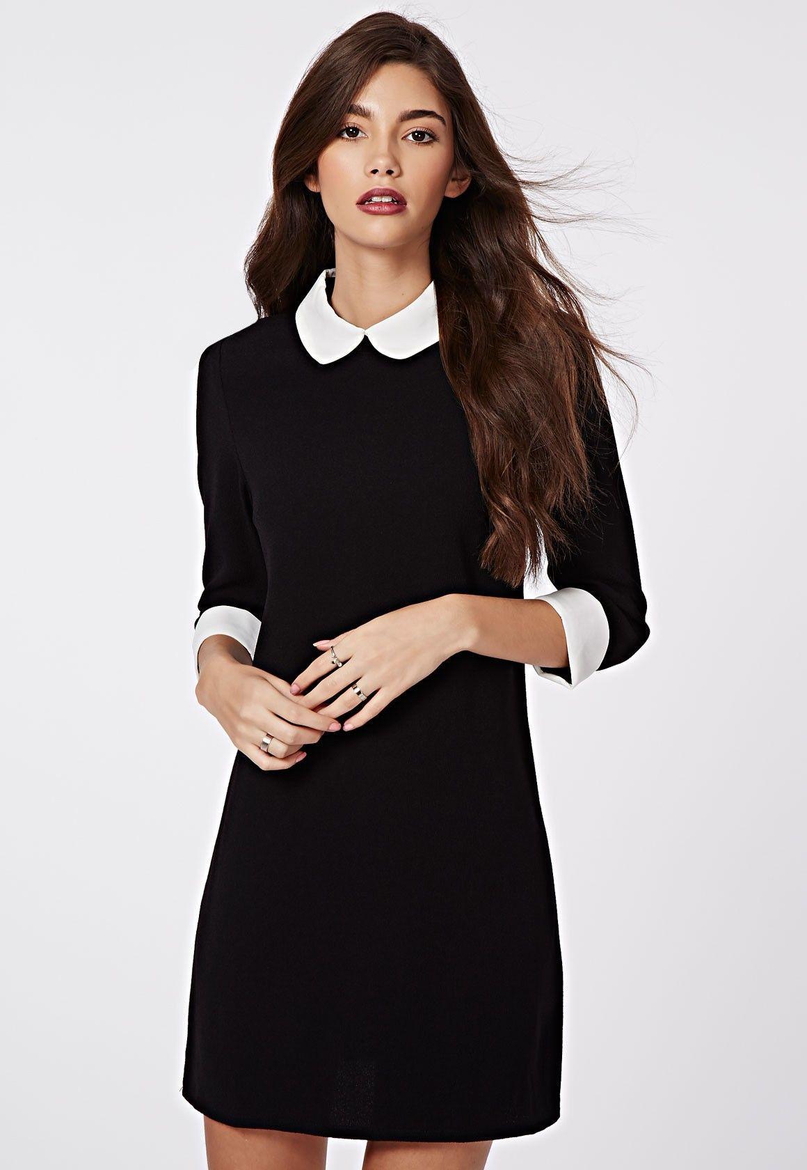Robe noir col claudine blanc