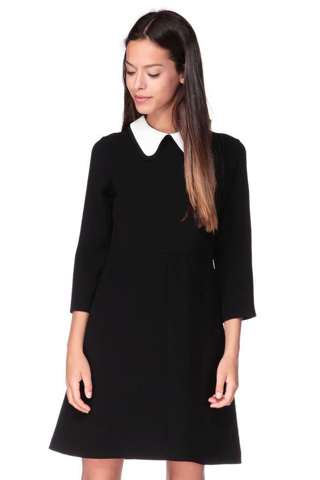 Robe noir col claudine