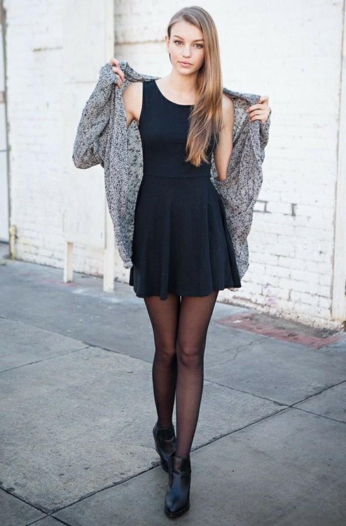 Robe noir collant noir