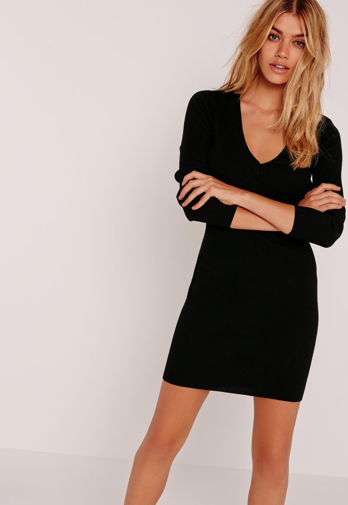 Robe noir courte manche longue