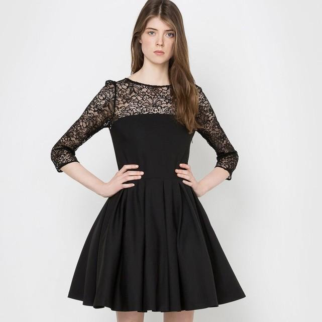 Robe noir dentelle courte