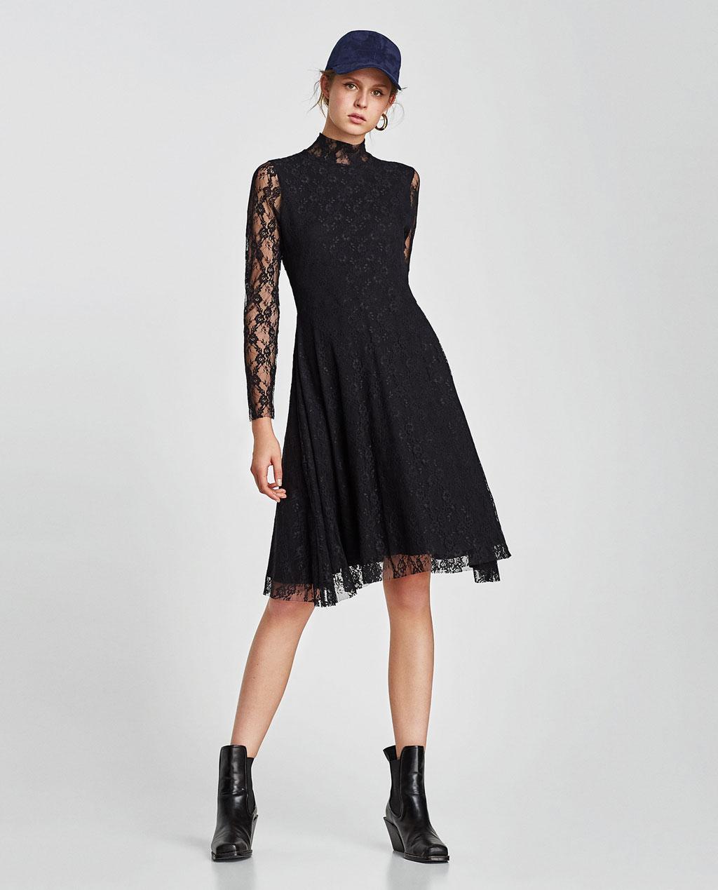 Robe noir dentelle zara