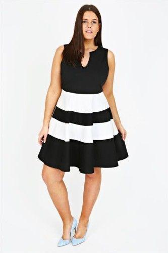 Robe noir et blanc grande taille