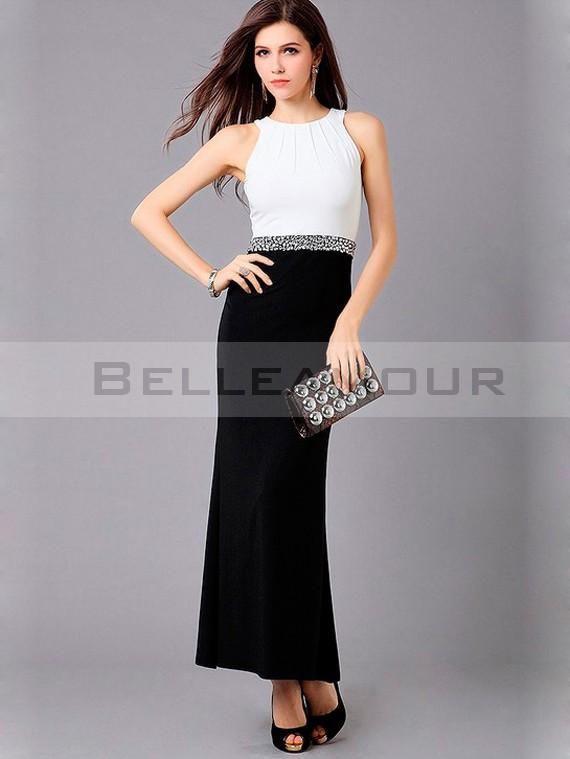 Robe noir et blanc longue