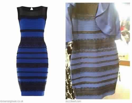 Robe noir et bleu ou blanche et or