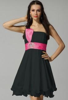 Robe noir et rose fushia
