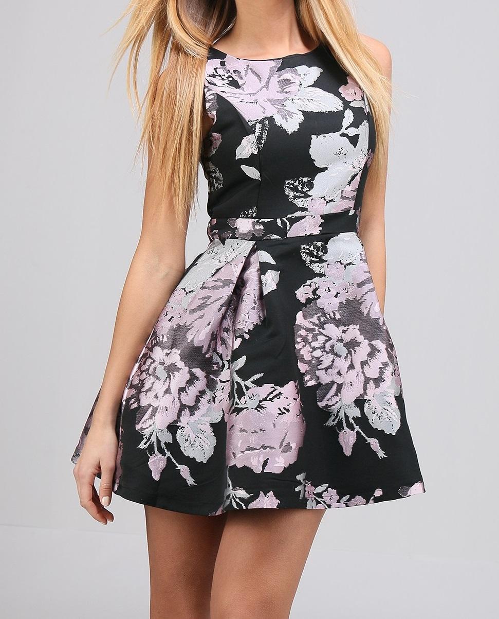 Robe noir fleur