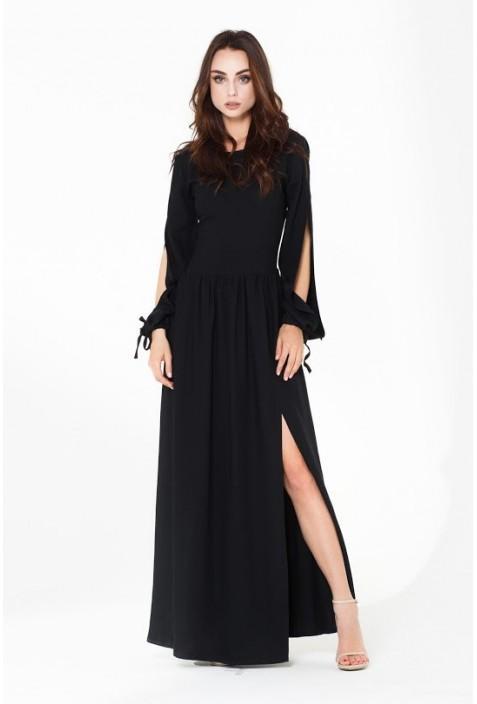 Robe noir longue manche longue