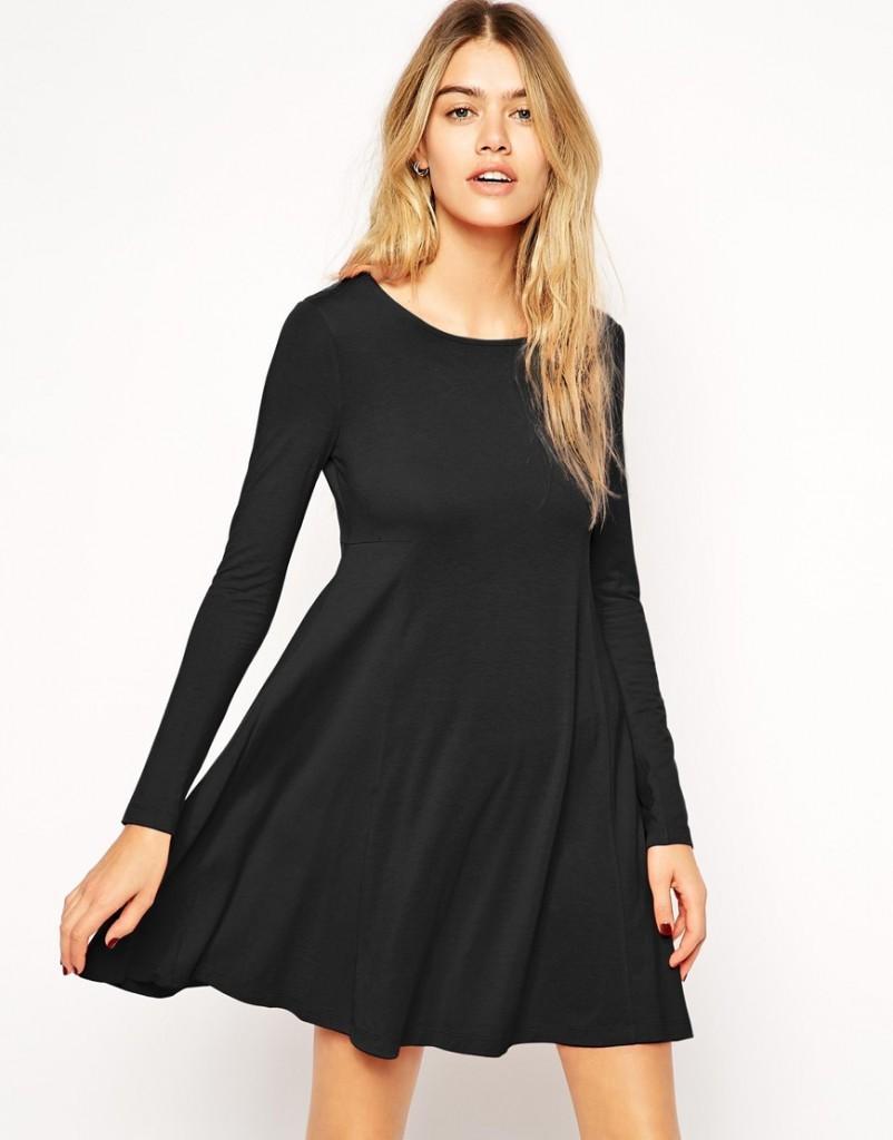 Robe noir manche longue simple