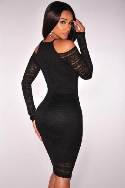 Robe noir moulante manche longue