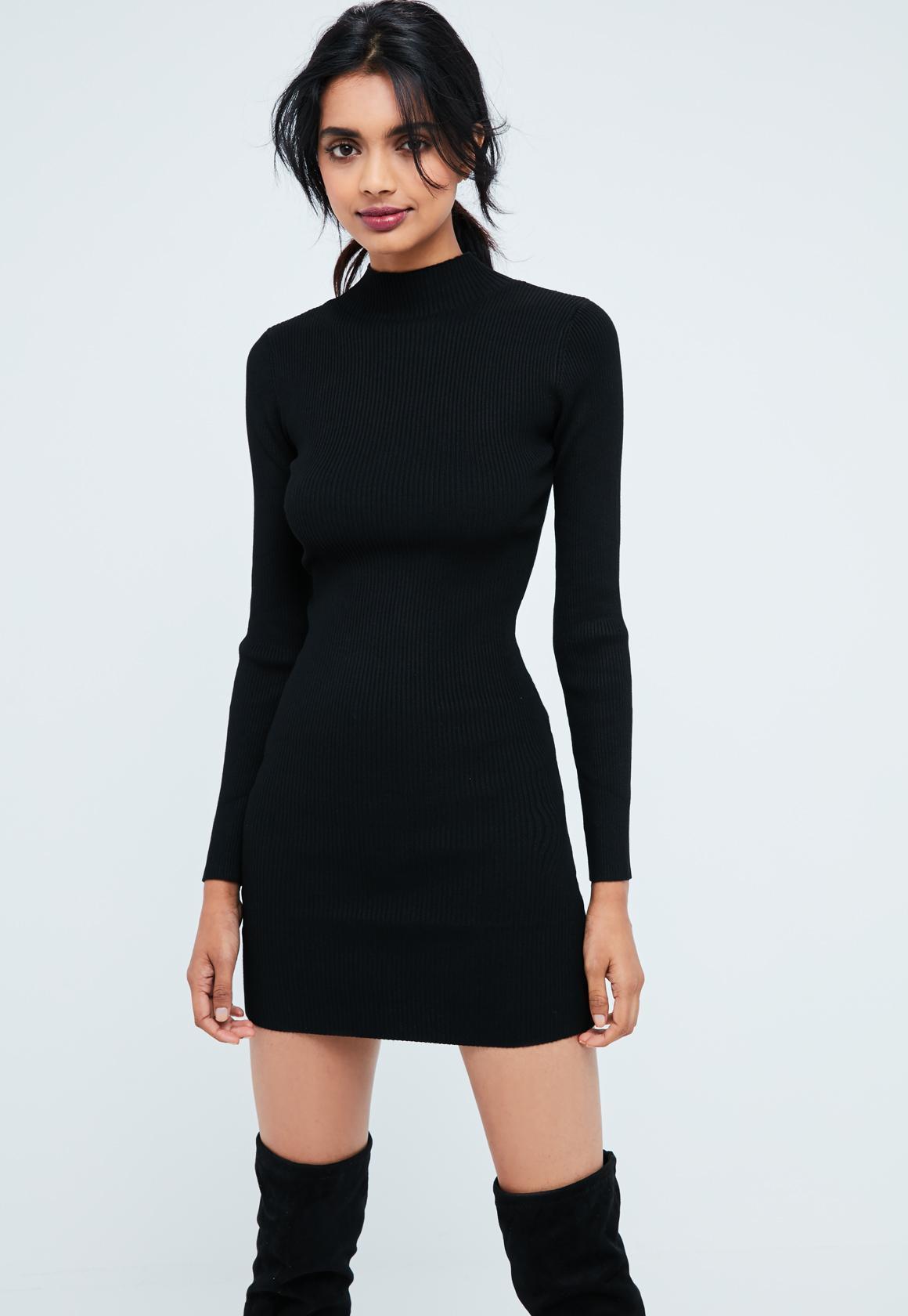 Robe noir simple manche longue