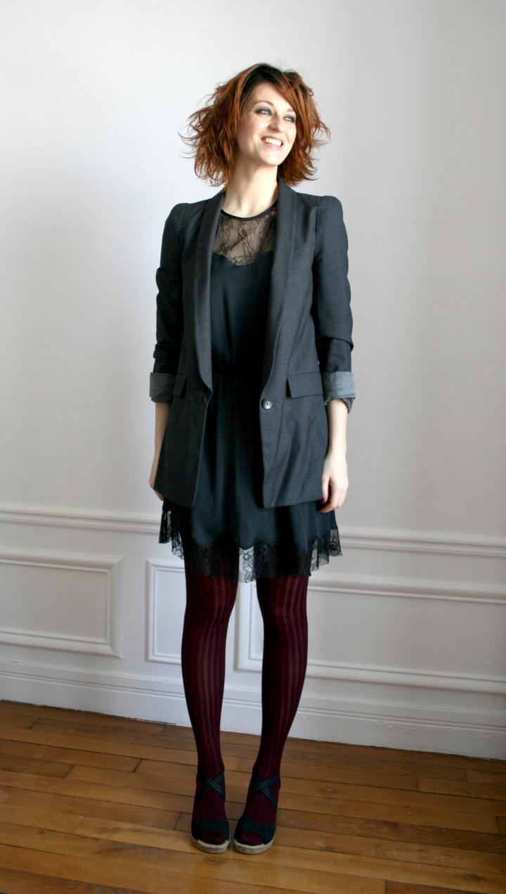 Robe noire collant noir chaussures noires