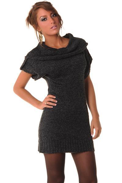 Robe pull femme noir