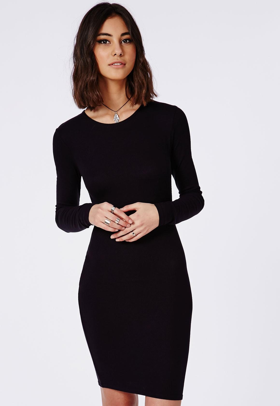 Robe pull noir manche longue