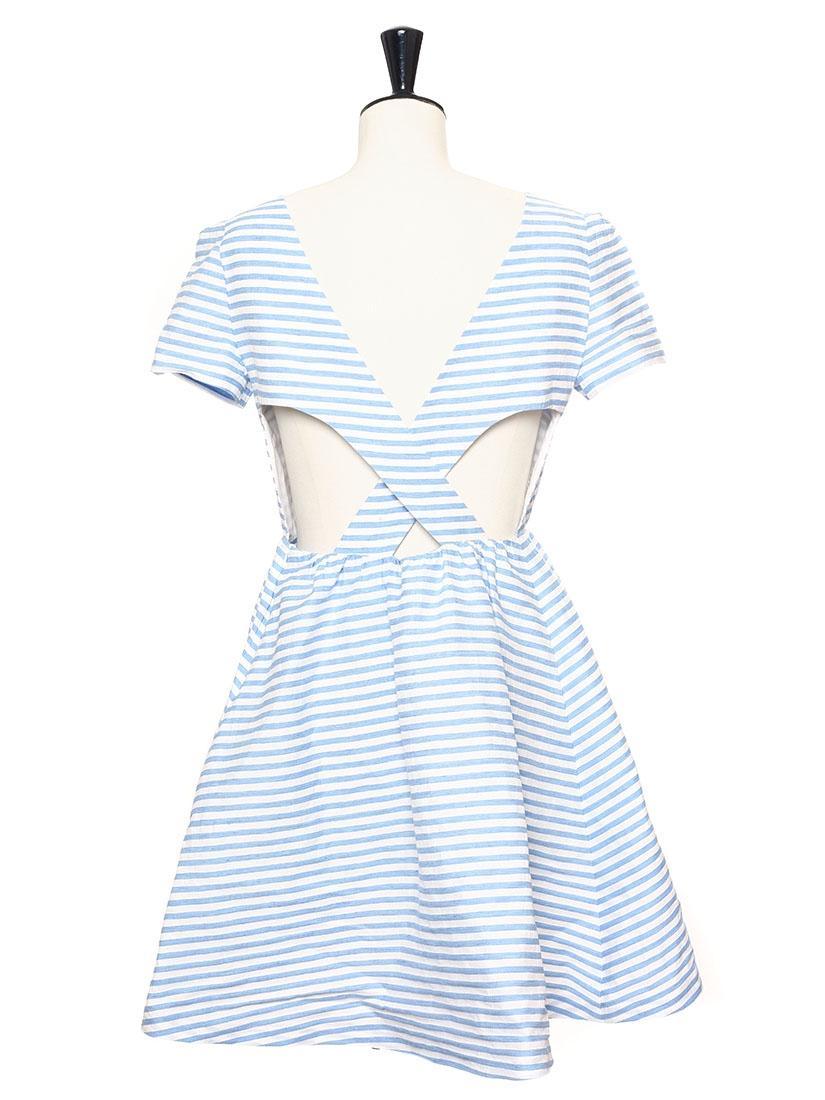 Robe rayé bleu et blanc