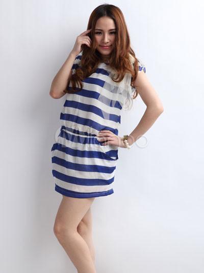 Robe rayée bleu blanc femme