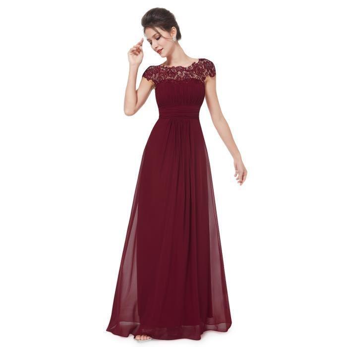 Robe rouge bordeaux longue