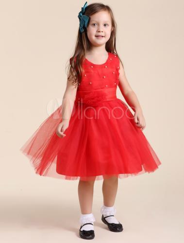 Robe rouge ceremonie fille