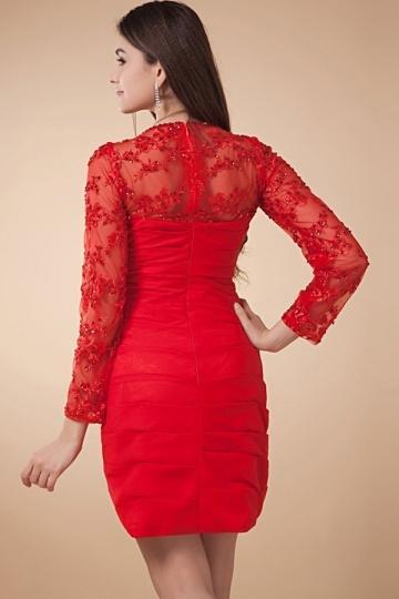 Robe rouge de soirée courte dentelle