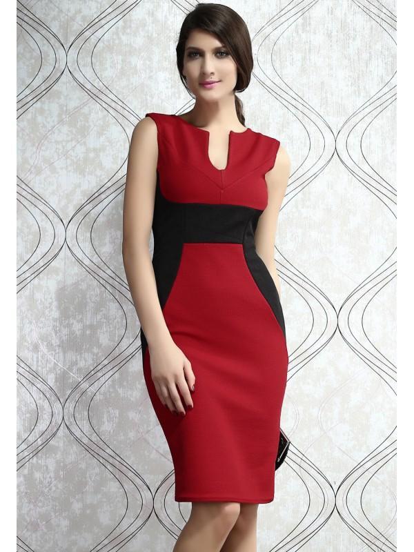 Robe rouge et noir femme