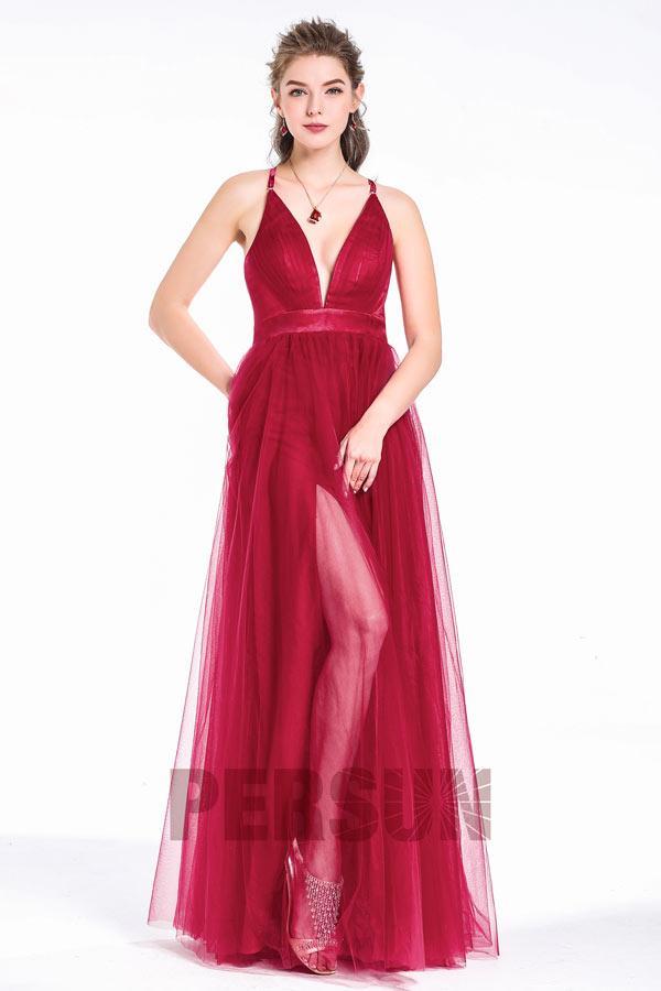Robe rouge longue fendue